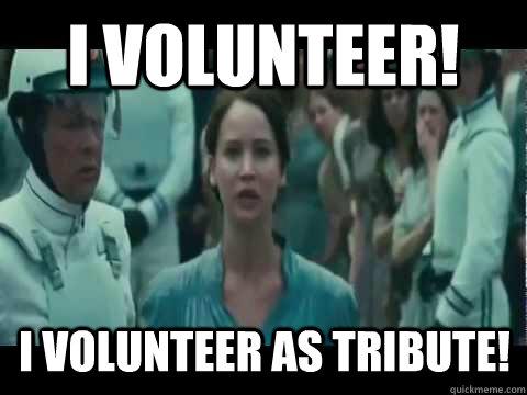 I volunteer! I volunteer as tribute!
