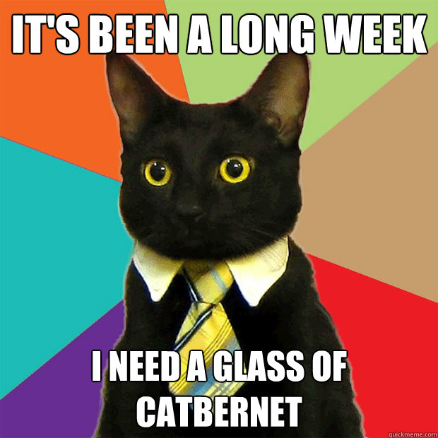 It's been a long week I need a glass of catbernet - It's been a long week I need a glass of catbernet Business Cat