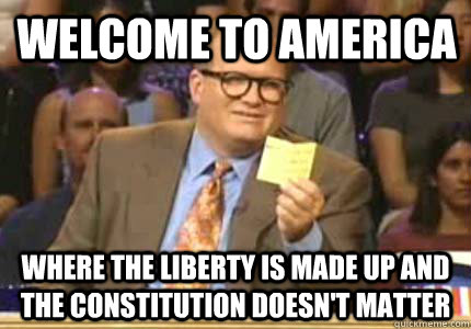 Welcome to america Where the liberty is made up and the constitution doesn't matter