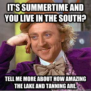 It's summertime and you live in the south? Tell me more about how amazing the lake and tanning are. - It's summertime and you live in the south? Tell me more about how amazing the lake and tanning are.  Condescending Wonka