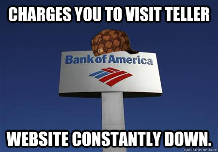 Charges you to visit teller Website constantly down. - Charges you to visit teller Website constantly down.  Scumbag bank of america