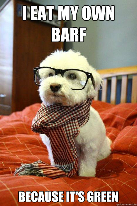 I eat my own barf because it's green - I eat my own barf because it's green  Hipster Dog