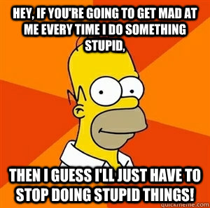 Hey, If You're Going To Get Mad At Me Every Time I Do Something Stupid, Then I Guess I'll Just Have To Stop Doing Stupid Things! - Hey, If You're Going To Get Mad At Me Every Time I Do Something Stupid, Then I Guess I'll Just Have To Stop Doing Stupid Things!  Advice Homer