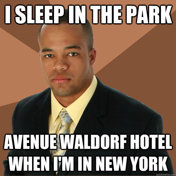I sleep in the park avenue waldorf hotel when i'm In new york - I sleep in the park avenue waldorf hotel when i'm In new york  Successful Black Man