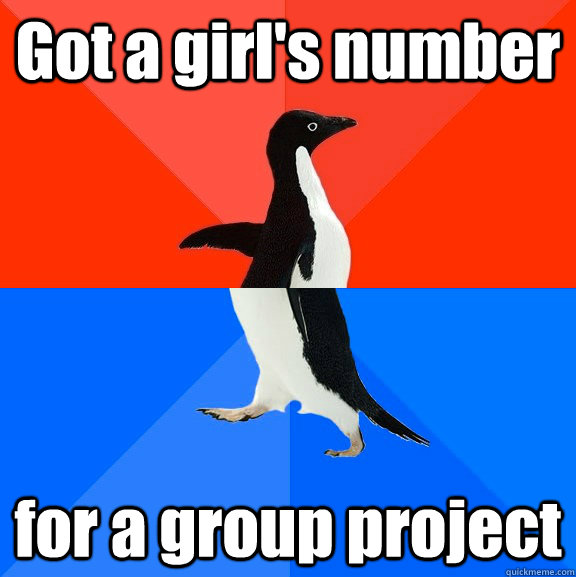 Got a girl's number for a group project - Got a girl's number for a group project  Socially Awesome Awkward Penguin
