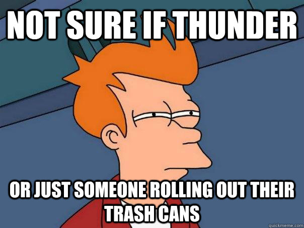 Not sure if thunder Or just someone rolling out their trash cans - Not sure if thunder Or just someone rolling out their trash cans  Futurama Fry