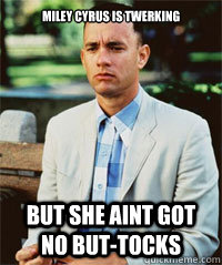 Miley cyrus is twerking  but she aint got no but-tocks  - Miley cyrus is twerking  but she aint got no but-tocks   Forrest Gump