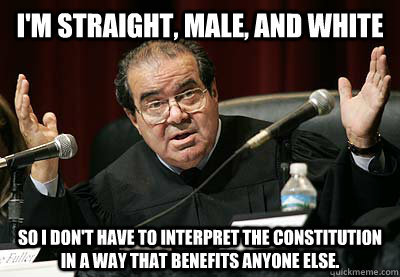 I'm straight, male, and white So I don't have to interpret the Constitution in a way that benefits anyone else.  Scalia Privilege