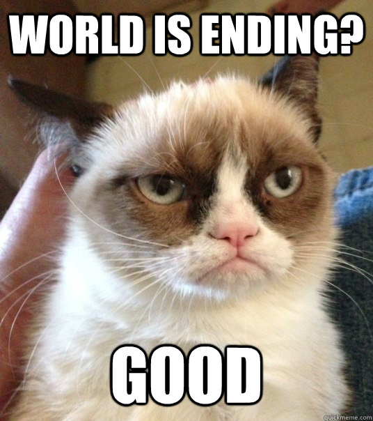 b116dd7b85d6e1823478adfa47734c35a1b891be3a49c6e7d80fee3875c6385d world is ending? good good day grumpy cat quickmeme