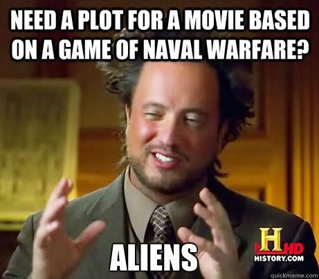 Need a plot for a movie based on a game of naval warfare? aliens