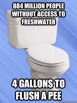 884 million people without access to freshwater  4 gallons to flush a pee - 884 million people without access to freshwater  4 gallons to flush a pee  Scumbag Toliet