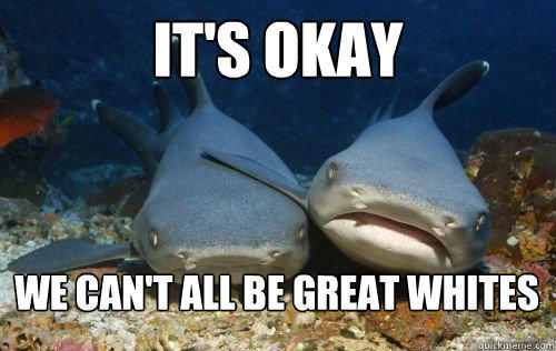 It's okay we can't all be great whites  Compassionate Shark Friend