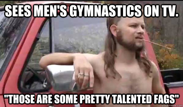 sees men's gymnastics on tv.