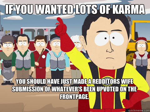 If you wanted lots of karma You should have just made a redditors wife submission of whatever's been upvoted on the frontpage. - If you wanted lots of karma You should have just made a redditors wife submission of whatever's been upvoted on the frontpage.  Captain Hindsight