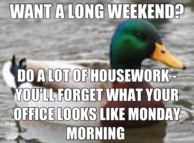 WANT A LONG WEEKEND? DO A LOT OF HOUSEWORK - YOU'LL FORGET WHAT YOUR OFFICE LOOKS LIKE MONDAY MORNING  - WANT A LONG WEEKEND? DO A LOT OF HOUSEWORK - YOU'LL FORGET WHAT YOUR OFFICE LOOKS LIKE MONDAY MORNING   duck