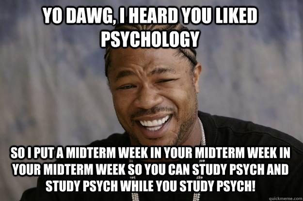 Funny Meme Upload : Yo dawg i heard you liked psychology so put a midterm