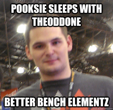 Pooksie sleeps with theOddone Better bench elementz - Pooksie sleeps with theOddone Better bench elementz  Misc