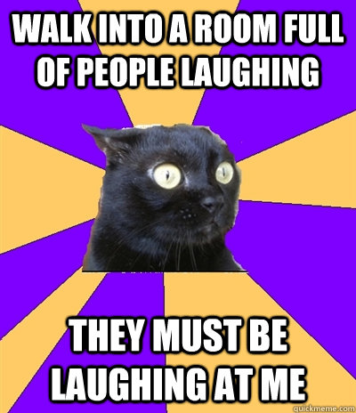 Walk into a room full of people laughing THEY MUST BE LAUGHING AT ME  Anxiety Cat