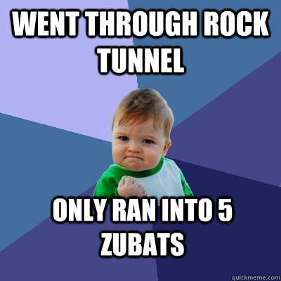 went through rock tunnel only ran into 5 zubats - went through rock tunnel only ran into 5 zubats  Success Kid