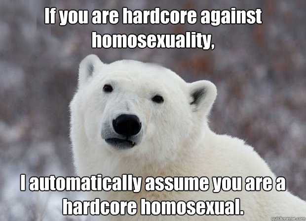 If you are hardcore against homosexuality, I automatically assume you are a hardcore homosexual. - If you are hardcore against homosexuality, I automatically assume you are a hardcore homosexual.  Popular Opinion Polar Bear