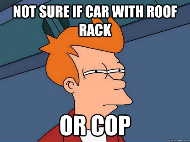 Not sure if car with roof rack  or cop - Not sure if car with roof rack  or cop  Futurama Fry
