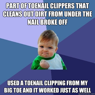 part of toenail clippers that cleans out dirt from under the nail broke off used a toenail clipping from my big toe and it worked just as well - part of toenail clippers that cleans out dirt from under the nail broke off used a toenail clipping from my big toe and it worked just as well  Misc