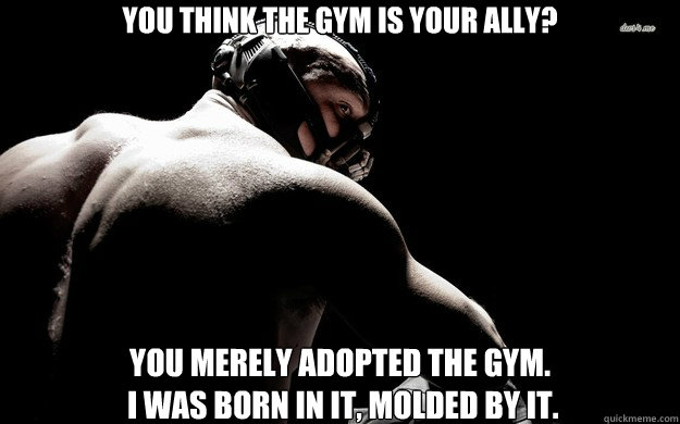 You think the gym is your ally? you merely adopted the gym.  i was born in it, molded by it. - You think the gym is your ally? you merely adopted the gym.  i was born in it, molded by it.  Misc
