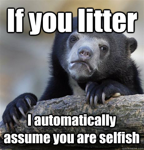 If you litter I automatically assume you are selfish - If you litter I automatically assume you are selfish  Confession Bear