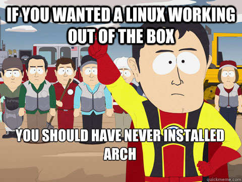 if you wanted a linux working out of the box you should have never installed arch - if you wanted a linux working out of the box you should have never installed arch  Captain Hindsight