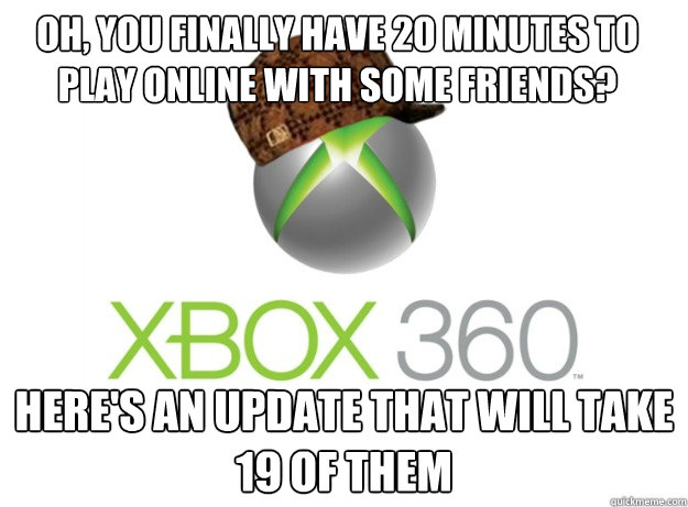 Oh, you finally have 20 minutes to play online with some friends? Here's an update that will take 19 of them