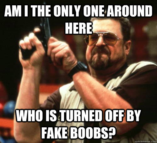 Am i the only one around here who is turned off by fake boobs? - Am i the only one around here who is turned off by fake boobs?  Am I The Only One Around Here