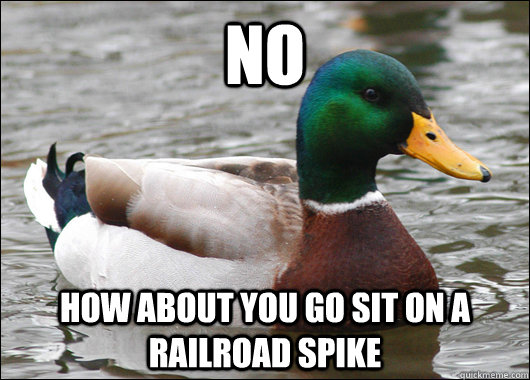 no how about you go sit on a railroad spike - no how about you go sit on a railroad spike  Actual Advice Mallard