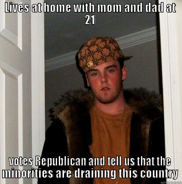 LIVES AT HOME WITH MOM AND DAD AT 21 VOTES REPUBLICAN AND TELL US THAT THE MINORITIES ARE DRAINING THIS COUNTRY Scumbag Steve