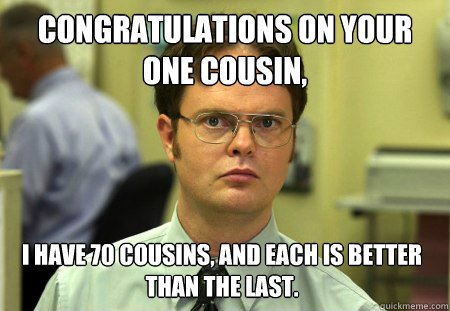 Funny Memes For Cousins : Congratulations on your one cousin i have cousins and each is