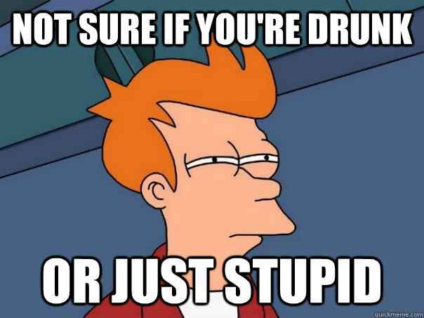Not sure if you're drunk Or just stupid - Not sure if you're drunk Or just stupid  Futurama Fry