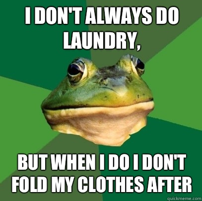 I don't always do laundry, But when I do I don't fold my clothes after  - I don't always do laundry, But when I do I don't fold my clothes after   Foul Bachelor Frog