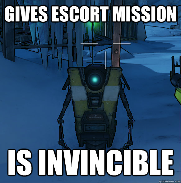 Gives escort mission is invincible - Gives escort mission is invincible  Misc