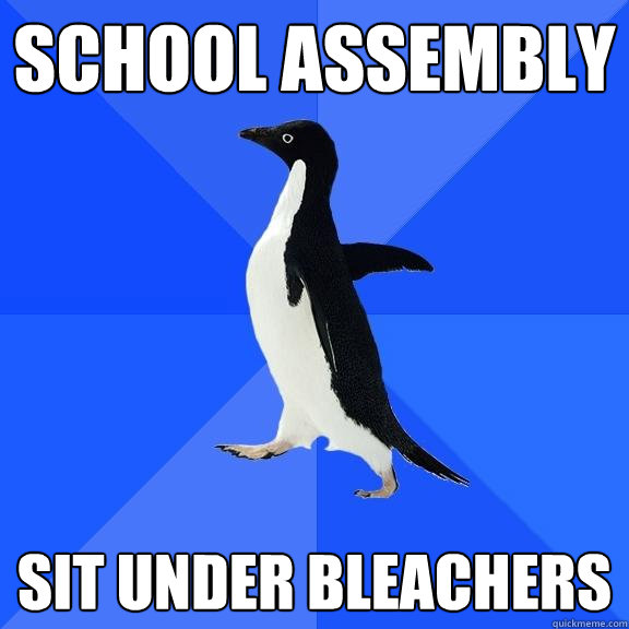 School assembly Sit under bleachers - School assembly Sit under bleachers  Socially Awkward Penguin