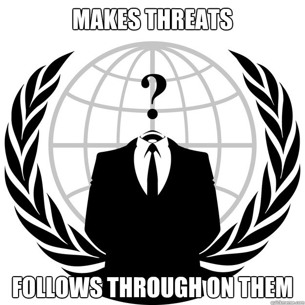 Makes threats Follows through on them - Makes threats Follows through on them  Good Guy Anonymous