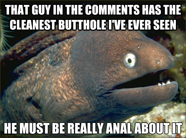 That guy in the comments has the cleanest butthole I've ever seen he must be really anal about it - That guy in the comments has the cleanest butthole I've ever seen he must be really anal about it  Bad Joke Eel