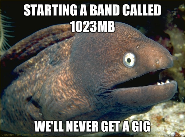 Starting a band called 1023mb We'll never get a gig  - Starting a band called 1023mb We'll never get a gig   Bad Joke Eel