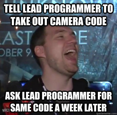 Tell lead programmer to take out camera code Ask lead programmer for same code a week later  Thats XCOM baby
