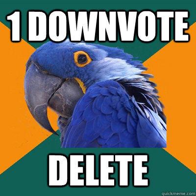 1 downvote delete - 1 downvote delete  Paranoid Parrot