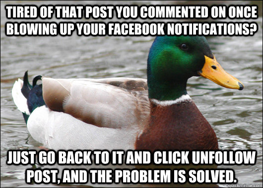 tired of that post you commented on once blowing up your facebook notifications? just go back to it and click unfollow post, and the problem is solved. - tired of that post you commented on once blowing up your facebook notifications? just go back to it and click unfollow post, and the problem is solved.  Actual Advice Mallard