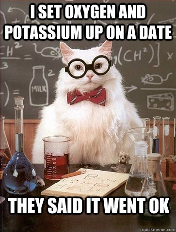 I SET OXYGEN AND POTASSIUM UP ON A DATE THEY SAID IT WENT OK - I SET OXYGEN AND POTASSIUM UP ON A DATE THEY SAID IT WENT OK  Chemistry Cat