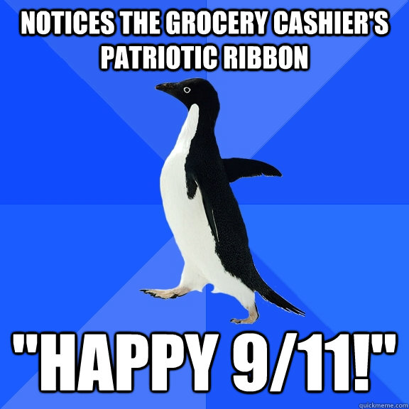 Notices the grocery cashier's patriotic ribbon