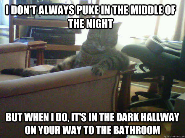 I don't always puke in the middle of the night But when I do, it's in the dark hallway on your way to the bathroom  Most interesting cat in the world