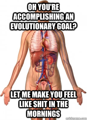 oh you're accomplishing an evolutionary goal? Let me make you feel like shit in the mornings