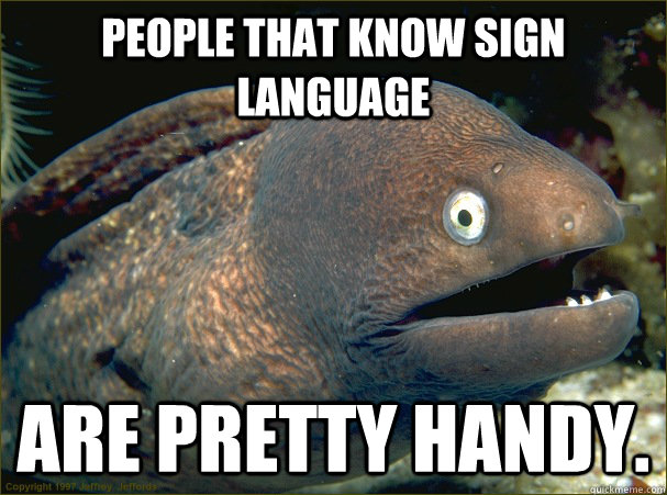 people that know sign language are pretty handy. - people that know sign language are pretty handy.  Bad Joke Eel