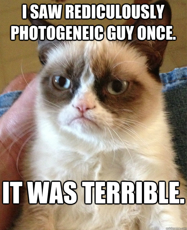 I saw rediculously photogeneic guy once. it was terrible. - I saw rediculously photogeneic guy once. it was terrible.  Grumpy Cat